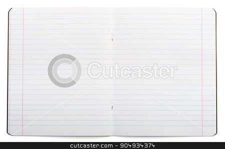 Open notebook on white stock photo, Open notebook on isolated white background, closeup by cherezoff