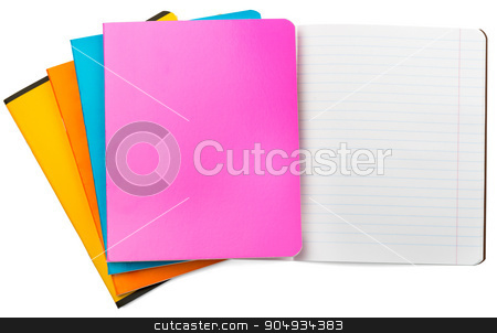 Set of notebooks on white stock photo, Set of notebooks on isolated white background, closeup by cherezoff