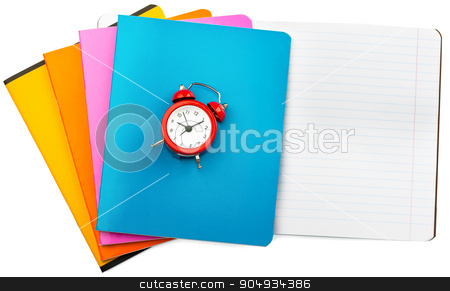Set of notebooks with alarm clock stock photo, Set of notebooks with alarm clock on isolated white background, closeup by cherezoff