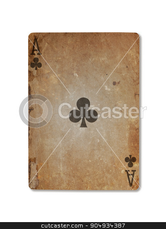 Very old playing card, ace of clubs stock photo, Very old playing card isolated on a white background, ace of clubs by michaklootwijk