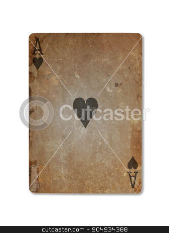 Very old playing card, ace of hearts stock photo, Very old playing card isolated on a white background, ace of hearts by michaklootwijk