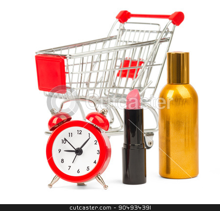 Shopping cart with lipstick and perfume stock photo, Shopping cart with lipstick and perfume on isolated white background by cherezoff