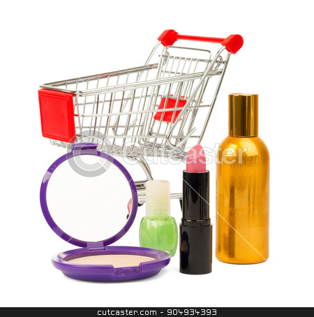 Shopping cart with nail polish and powder stock photo, Shopping cart with nail polish and powder on isolated white background by cherezoff