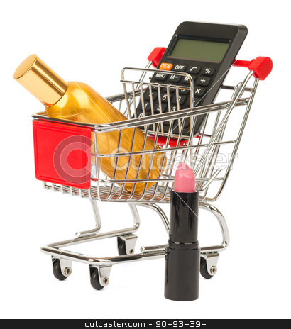 Calculator and perfume in shopping cart stock photo, Calculator and perfume in shopping cart on isolated white background by cherezoff