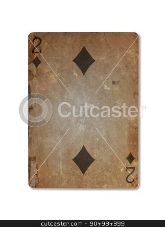 Very old playing card, two of diamonds stock photo, Very old playing card isolated on a white background, two of diamonds by michaklootwijk