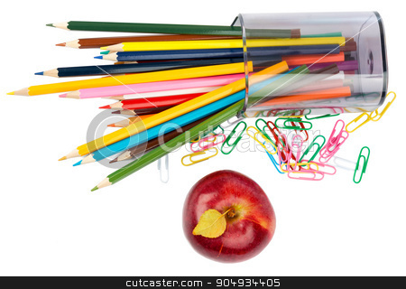 Fresh red apple with crayons stock photo, Fresh red apple with crayons and paper clips on white background by cherezoff