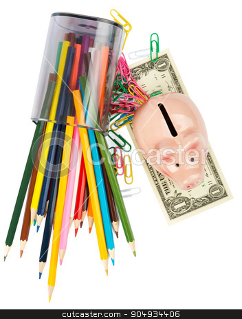Piggy bank with crayons stock photo, Piggy bank with crayons and paper clips on white background by cherezoff