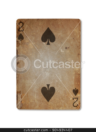 Very old playing card, two of spades stock photo, Very old playing card isolated on a white background, two of spades by michaklootwijk