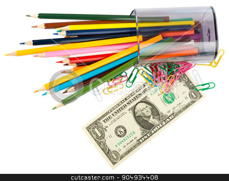 Cash with crayons stock photo, Cash with crayons and paper clips on white background by cherezoff