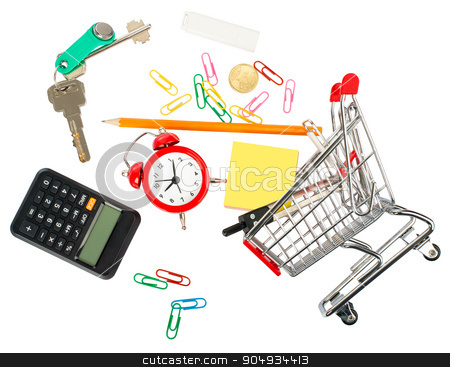 Shopping cart with stationery and keys stock photo, Shopping cart with stationery and keys on isolated white background by cherezoff