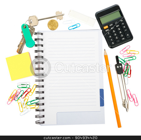 Open notebook with stationery stock photo, Open notebook with stationery isolated white background, closeup by cherezoff