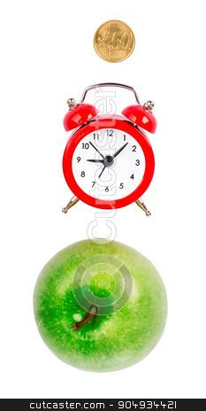 Fresh apple with alarm clock stock photo, Fresh apple with alarm clock and coin on isolated white background by cherezoff