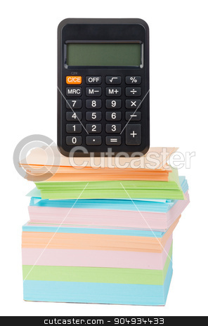 Calculator on stack of stickers stock photo, Calculator on stack of stickers on isolated white background by cherezoff