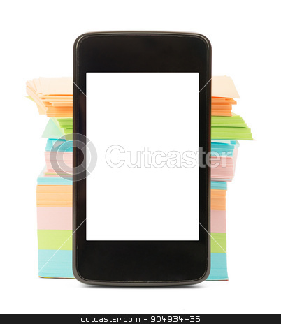 Smartphone with blank screen stock photo, Smartphone with blank screen and stack of stickers on isolated white background by cherezoff