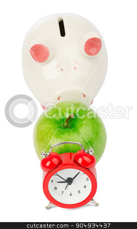 Apple with alarm clock and piggy bank  stock photo, Apple with alarm clock and piggy bank on isolated white background by cherezoff