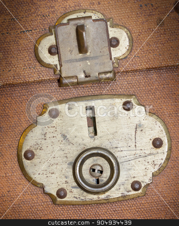 Old canvas trunk lock close up stock photo, Old canvas trunk lock close up, vintage by michaklootwijk