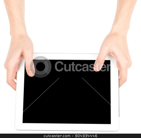 Female hands using tablet stock photo, Female hands using tablet with black screen on isolated white background by cherezoff