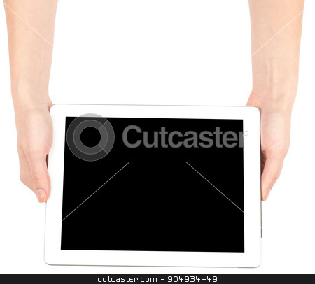 Female hands holding tablet stock photo, Female hands holding tablet with black screen on isolated white background by cherezoff