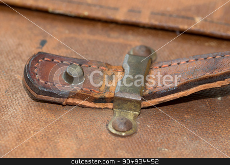 Old canvas trunk handle close up stock photo, Old canvas trunk handle close up, vintage by michaklootwijk