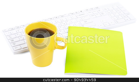 Keyboard with coffee and notebook stock photo, Keyboard with coffee and notebook on isolated white background, closeup by cherezoff