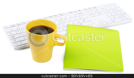 Keyboard with coffee and notebook stock photo, Keyboard with cup of coffee and notebook on isolated white background, closeup by cherezoff