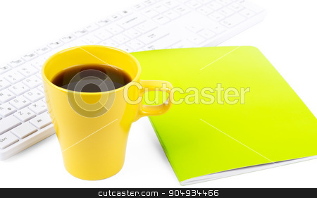 Cup of coffee with keyboard stock photo, Cup of coffee with keyboard and notebook on isolated white background by cherezoff