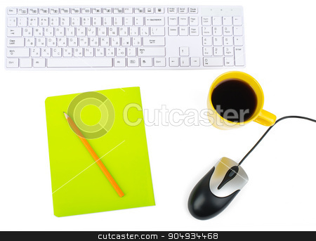 Cup of coffee with keyboard and mouse stock photo, Cup of coffee with keyboard, mouse and notebook on isolated white, top view by cherezoff