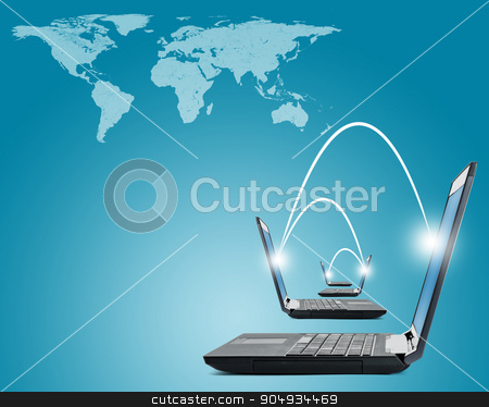 Laptops with world map stock photo, Black laptops with world map on blue background by cherezoff