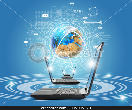 Laptops with earth globe stock photo, Black laptops with earth globe on blue background by cherezoff