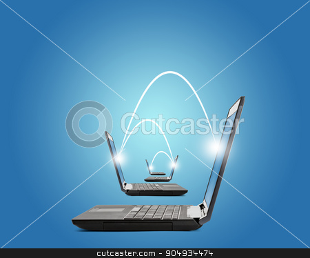 Connected laptops on blue stock photo, Connected laptopd with lightspots on blue background by cherezoff