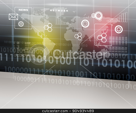 Abstract background with world map stock photo, Abstract background with world map and set of figures by cherezoff