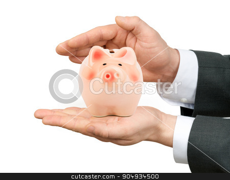 Male hands holding piggy bank stock photo, Male hands holding piggy bank on isolated white background by cherezoff