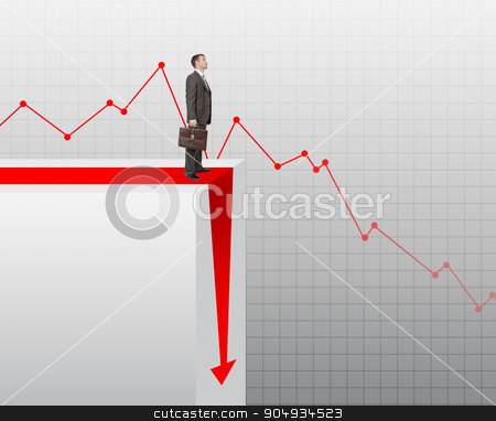 Businessman standing on edge of chart stock photo, Businessman standing on edge of chart on grey background by cherezoff
