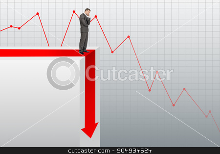 Sad businessman standing on edge of chart stock photo, Sad businessman standing on edge of chart on grey background by cherezoff