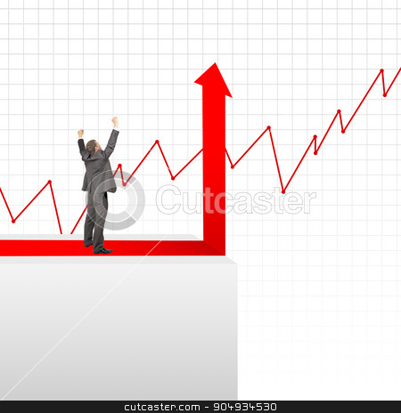 Happy businessman standing on edge of chart stock photo, Happy businessman standing on edge of chart on grey background by cherezoff