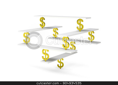 Financial balance with gold dollar sign stock photo, Financial balance, stable equilibrium on isolated white background by cherezoff
