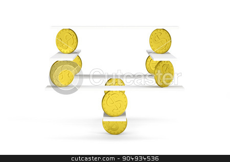 Financial balance with gold money on white stock photo, Financial balance, stable equilibrium on isolated white background by cherezoff