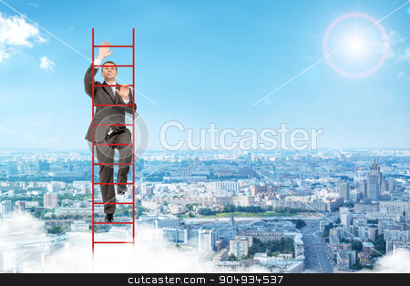 Businessman climbing red  ladder in sky stock photo, Businessman climbing red ladder on blue sky background by cherezoff