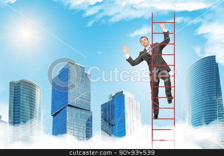 Happy businessman climbing ladder in sky stock photo, Happy businessman climbing ladder on blue sky background by cherezoff