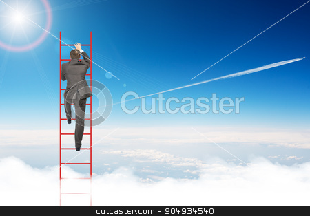 Businessman climbing ladder in sky stock photo, Businessman climbing ladder on blue sky background, rear view by cherezoff