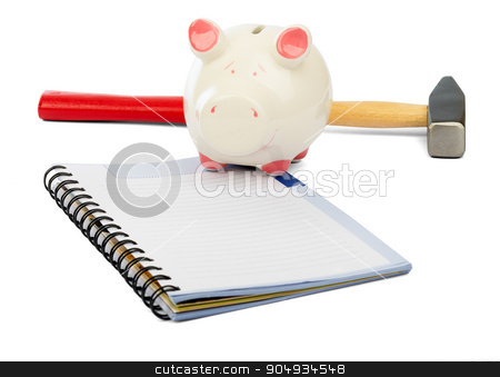 Piggy bank with hammer and pad on white stock photo, Piggy bank with hammer and pad on isolated white background by cherezoff