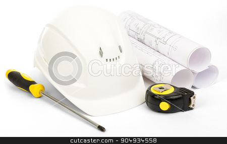 Planning of house construction on white stock photo, Planning of construction of house. Drawings for building house, helmet and other working tools on isolated white background by cherezoff