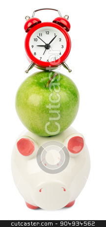 Fresh green apple with alarm clock and piggy bank  stock photo, Fresh green apple with alarm clock and piggy bank on isolated white background by cherezoff