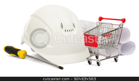 Construction helmet and shopping cart  stock photo, Construction helmet, screwdriver and shopping cart on isolated white background by cherezoff
