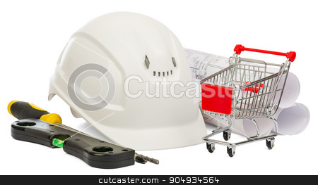 Construction helmet and shopping cart  stock photo, White construction helmet, builders level and shopping cart on isolated white background by cherezoff