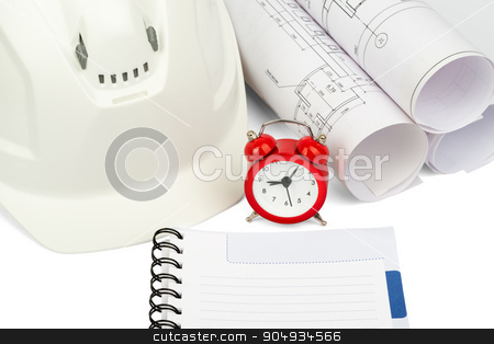 Blueprint rols and helmet with alarm clock  stock photo, Blueprint rols and helmet with alarm clock and copybook on isolated white background by cherezoff