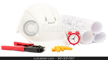 Blueprint rols and helmet with tools stock photo, Blueprint rols and white helmet with tools on isolated white background by cherezoff