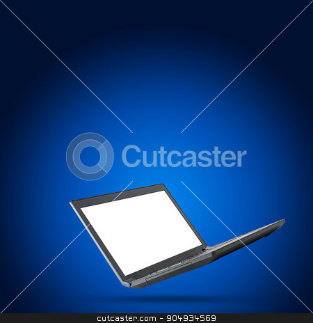 Laptop with blank screen on blue background stock photo, Black laptop with blank screen on blue background by cherezoff