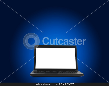 Laptop with blank screen stock photo, Black laptop with blank screen on blue background by cherezoff