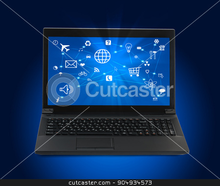 Black laptop with computer icons on blue stock photo, Black laptop with lightspot on blue background by cherezoff
